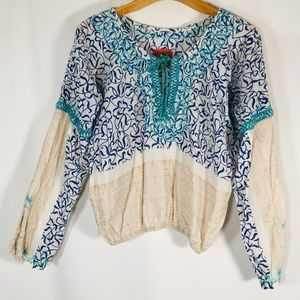 free people tunic gold boho tie neck Large Laceup
